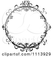 Clipart Vintage Black And White Ornate Floral Round Frame Royalty Free Vector Illustration by Prawny Vintage #COLLC1113929-0178