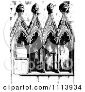 Clipart Vintage Black And White Gothic Architecture Royalty Free Vector Illustration