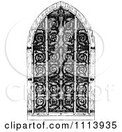 Clipart Vintage Black And White Gothic Door Royalty Free Vector Illustration by Prawny Vintage