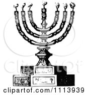 Clipart Vintage Black And White Menorah And Candles Royalty Free Vector Illustration