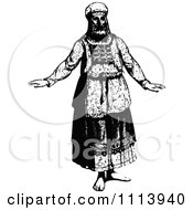 Clipart Vintage Black And White Jewish High Priest Royalty Free Vector Illustration