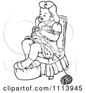 Clipart Vintage Black And White Girl Knitting Royalty Free Vector Illustration