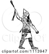 Clipart Vintage Black And White Ancient Assyrian Spearman Guard 1 Royalty Free Vector Illustration
