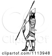 Clipart Vintage Black And White Ancient Assyrian Spearman Guard 2 Royalty Free Vector Illustration