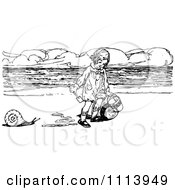 Clipart Vintage Black And White Girl With A Snail And Buckets On A Beach Royalty Free Vector Illustration