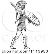 Clipart Vintage Black And White Ancient Warrior With A Helmet Sword And Shield Royalty Free Vector Illustration
