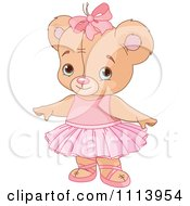 Clipart Cute Ballerina Teddy Bear Royalty Free Vector Illustration by Pushkin