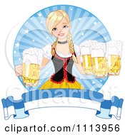 Beautiful Blond Oktoberfest Bar Maiden With Beer Over A Banner