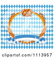 Clipart Soft Pretzel And Wheat Oktoberfest Frame Over Diamonds With A Banner Royalty Free Vector Illustration by Pushkin