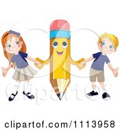 Clipart Happy Pencil Holding Hands With A School Boy And Girl Royalty Free Vector Illustration