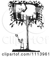 Clipart Girl Cutting Down An Elephant Tree Black And White Woodcut Royalty Free Vector Illustration
