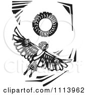Clipart Icarus Flying Under The Sun Black And White Woodcut Royalty Free Vector Illustration