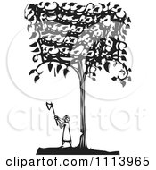 Clipart Girl Cutting Down A Tree Black And White Woodcut Royalty Free Vector Illustration by xunantunich