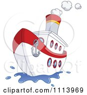 Clipart Red And White Steam Ship With An Anchor On The Front Royalty Free Vector Illustration