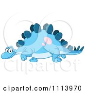 Clipart Happy Blue Stegosaurus Walking Royalty Free Vector Illustration