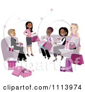 Clipart Diverse Women Exchanging Gifts At A Party Royalty Free Vector Illustration