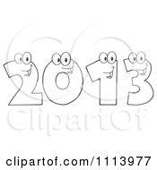 Clipart Outlined Happy 2013 Numbers Royalty Free Vector Illustration