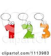 Clipart Talking Happy 1 2 And 3 Numbers Royalty Free Vector Illustration