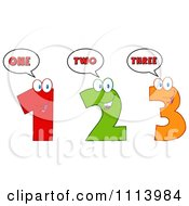 Clipart Happy Talking 1 2 And 3 Numbers Royalty Free Vector Illustration