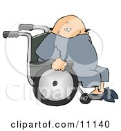 Bald Senior Man Sitting In A Wheelchair Clipart Picture