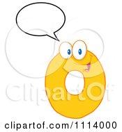 Clipart Talking Yellow Zero Mascot 1 Royalty Free Vector Illustration