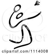 Clipart Black And White Stick Drawing Of A Badminton Player Royalty Free Vector Illustration