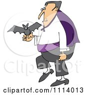 Clipart Halloween Vampire With A Pet Bat Royalty Free Vector Illustration
