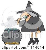 Halloween Witch Eating Over Her Cauldron