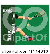 Clipart Male Tennis Player On Green With Text Royalty Free Vector Illustration