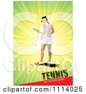 Clipart Female Tennis Player Over Rays With Text Royalty Free Vector Illustration