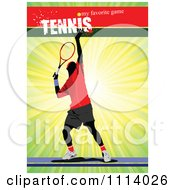 Clipart Male Tennis Player Over Rays With Text Royalty Free Vector Illustration