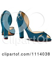 Clipart Pair Of Blue High Heels With Buckles Royalty Free Vector Illustration