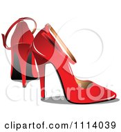 Clipart Pair Of Red High Heels Royalty Free Vector Illustration by leonid #COLLC1114039-0100