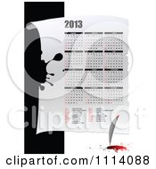 Clipart 2013 Calendar With A Feather Quil Royalty Free Vector Illustration