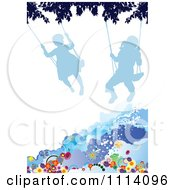 Clipart Silhouetted Children Swinging Over Grunge And Flowers Royalty Free Vector Illustration by leonid