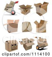 Clipart 3d Cardboard Boxes And Dollies Royalty Free Vector Illustration