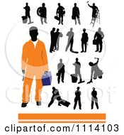 Clipart Silhouetted Workers And One Man In Orange Royalty Free Vector Illustration