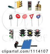 Clipart Traffic Lights And Signs Royalty Free Vector Illustration by leonid