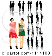 Clipart Silhouetted Talking People Royalty Free Vector Illustration