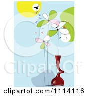 Clipart Birds Flowers And Vases 1 Royalty Free Vector Illustration