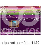 Clipart Purple Window Background With Grunge Royalty Free Vector Illustration