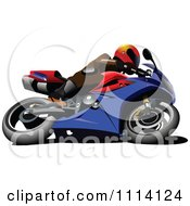 Clipart Person On A Blue Crotch Rocket Motorcycle Royalty Free Vector Illustration