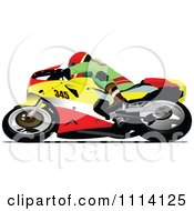 Clipart Crotch Rocket Motorcycle Motocross Racer Turning Royalty Free Vector Illustration