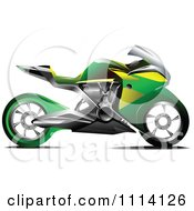 Clipart Green And Yellow Crotch Rocket Motorcycle Royalty Free Vector Illustration