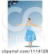 Clipart Blue Ballerina Background With Spotlights And Copyspace 2 Royalty Free Vector Illustration by leonid