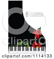 Clipart Poinsettias Over Piano Keys With Sheet Music On Black And White Royalty Free Vector Illustration