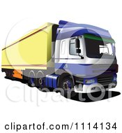 Clipart Blue Big Rig Truck With A Yellow Trailor Royalty Free Vector Illustration