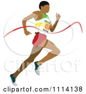 Clipart Track Man Running Through A Ribbon Royalty Free Vector Illustration by leonid