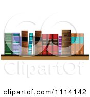 Clipart Antique Books On A Shelf Royalty Free Vector Illustration