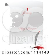 Clipart Feather Quil With Red Ink And Happy New Years Text On A Letter Royalty Free Vector Illustration by leonid